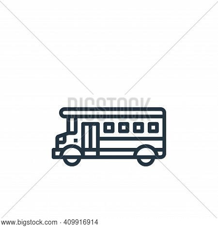 school bus icon isolated on white background from motorway collection. school bus icon thin line out