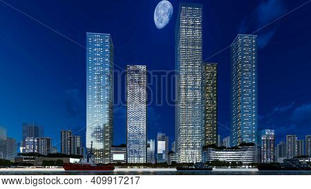 3d render of beautiful modern city skyline with tall buildings