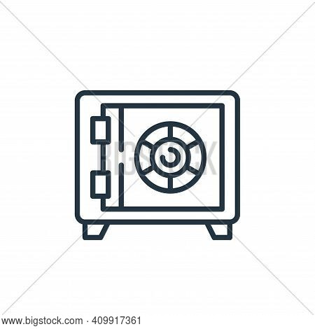 safe box icon isolated on white background from money and currency collection. safe box icon thin li