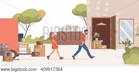 Man And Woman Moving Into New Suburban House Vector Flat Illustration. Male And Female Characters Ca