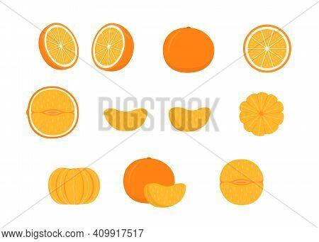 Set Of Ripe Orange Mandarin - Whole, Cut Half, Piece And Slice Of Mandarin. Mandarin, Tangerin Or Cl