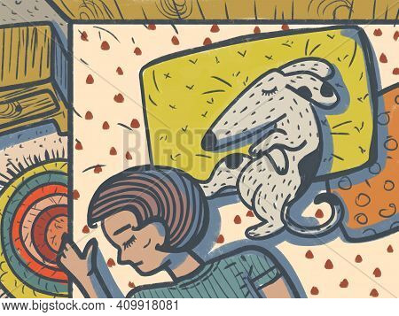Illustration Of A Dog Sleeping On Pillows On A Bed Together With Its Owner. The Dog Takes All The Pi