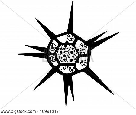 Dictyocha - Microscopic Unicellular Algae Plant - Vector Line Picture For Logo Or Pictogram. Microor