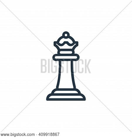 queen icon isolated on white background from chess game collection. queen icon thin line outline lin