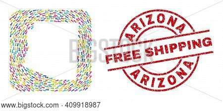 Vector Mosaic Arizona State Map Of Moving Arrows And Rubber Free Shipping Seal. Mosaic Geographic Ar