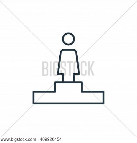 podium icon isolated on white background from leadership collection. podium icon thin line outline l