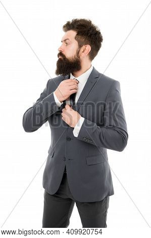 Bearded Man Confident Posture Isolated White. Hipster With Beard Formal Suit Office Worker. Business