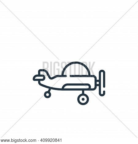 plane icon isolated on white background from children toys collection. plane icon thin line outline