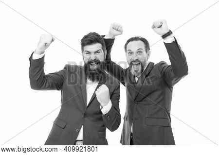 Successful Entrepreneurship. Partnership Project. Business Team. Good Mood And Easygoing. Bearded Bu