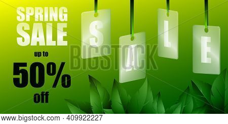 Spring Sale Background With Beautiful Leaves. Translucent Glass Or Plastic Cards With Letters On Gre