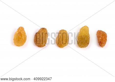 Dried Raisins Yellow Raisins On A White Background.