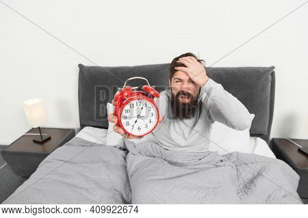 Turn Off That Ringing. Problem Early Morning Awakening. Get Up With Alarm Clock. Overslept Again. Ti