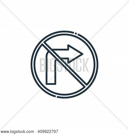 no turn right icon isolated on white background from signaling collection. no turn right icon thin l