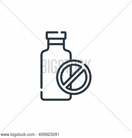 no milk icon isolated on white background from vegan food collection. no milk icon thin line outline