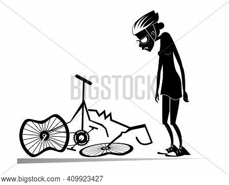 Cyclist Woman And A Broken Bike Isolated Illustration. Sad Woman Standing Near A Broken Bike With Do
