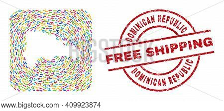 Vector Collage Dominican Republic Map Of Delivery Arrows And Rubber Free Shipping Seal. Collage Geog