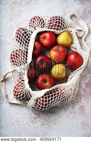 Apples Starking In The Mesh Bag
