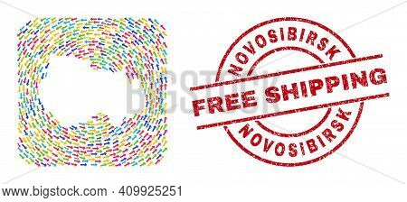 Vector Mosaic Novosibirsk Region Map Of Pointer Arrows And Rubber Free Shipping Seal. Collage Geogra