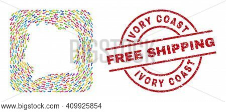 Vector Collage Ivory Coast Map Of Pointer Arrows And Grunge Free Shipping Stamp. Collage Geographic