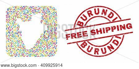 Vector Mosaic Burundi Map Of Delivery Arrows And Rubber Free Shipping Seal. Mosaic Geographic Burund