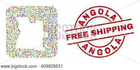 Vector Mosaic Angola Map Of Pointing Arrows And Grunge Free Shipping Seal. Mosaic Geographic Angola