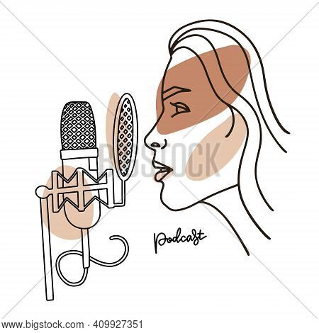 Radio Host With Professional Mic Flat Vector Illustration. Media Hosting Linear Abstract Drawing. Fe