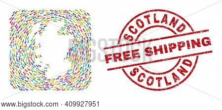 Vector Mosaic Scotland Map Of Swirl Arrows And Rubber Free Shipping Seal. Mosaic Geographic Scotland