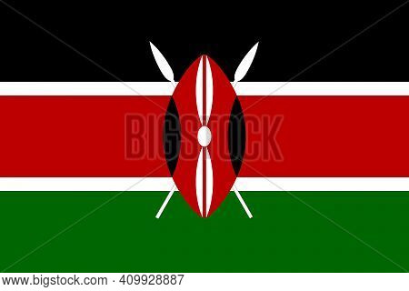 National Flag Of Kenya In The Original Size,colours And Proportions(2:3)