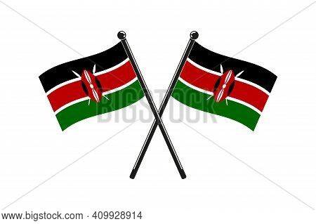 National Flags Of  Kenya Crossed On The Sticks In The Original Colours And Proportions