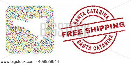 Vector Collage Santa Catarina State Map Of Moving Arrows And Scratched Free Shipping Seal. Collage G