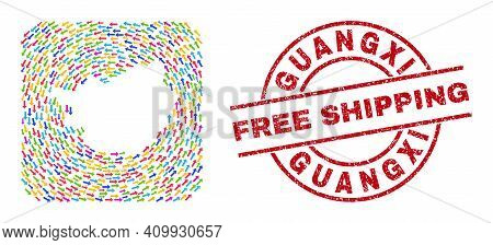 Vector Mosaic Guangxi Province Map Of Direction Arrows And Rubber Free Shipping Seal Stamp. Mosaic G