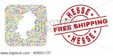 Vector Collage Hesse Land Map Of Pointing Arrows And Rubber Free Shipping Badge. Collage Geographic