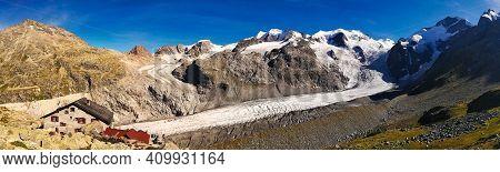 Glacier Panorama Picture. Morteratsch Glacier With A View Of The Bianco Ridge From The Piz Bernina.