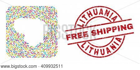 Vector Mosaic Lithuania Map Of Migration Arrows And Scratched Free Shipping Seal Stamp. Mosaic Geogr
