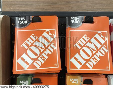 Indianapolis - Circa February 2021: Home Depot Gift Cards. Home Depot Is The Largest Home Improvemen