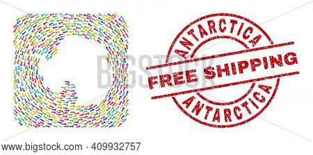 Vector Collage Antarctica Continent Map Of Swirl Arrows And Scratched Free Shipping Stamp. Collage G