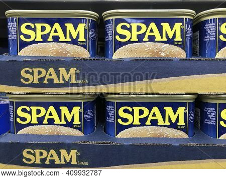 Indianapolis - Circa February 2021: Spam Canned Meat Display. Spam Became Popular And Famous During