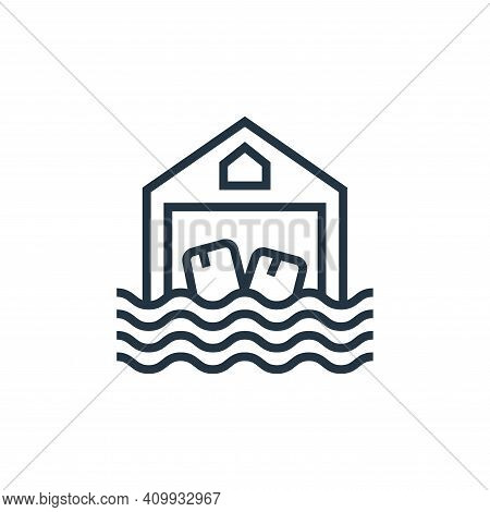 flood icon isolated on white background from business risks collection. flood icon thin line outline