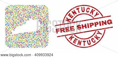 Vector Mosaic Kentucky State Map Of Delivery Arrows And Grunge Free Shipping Stamp. Collage Geograph