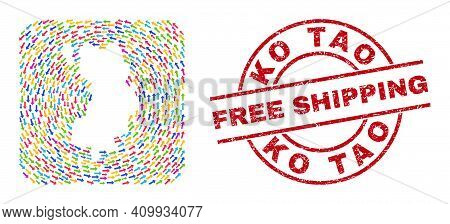 Vector Collage Ko Tao Map Of Pointer Arrows And Rubber Free Shipping Badge. Collage Geographic Ko Ta