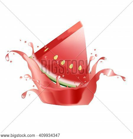 Watermelon Juice Splash. Fresh Fruit. 3d Realism. Fresh Fruit And Splashes.