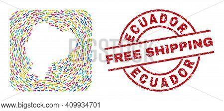 Vector Mosaic Ecuador Map Of Swirl Arrows And Grunge Free Shipping Badge. Mosaic Geographic Ecuador