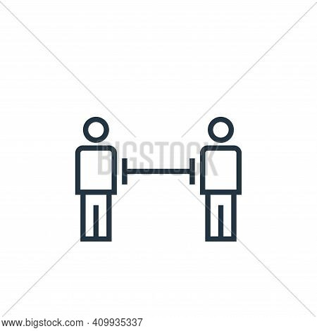 distance icon isolated on white background from pandemic novel virus collection. distance icon thin