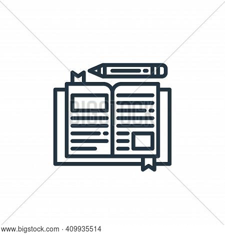 diary icon isolated on white background from stay at home collection. diary icon thin line outline l