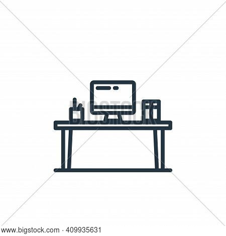 desk icon isolated on white background from elearning collection. desk icon thin line outline linear