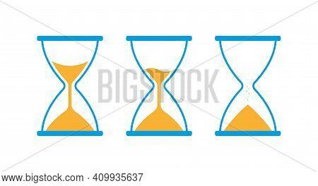 Hourglass, Sandglass Icon Set. Blue And Yellow Classic Sandglass. Flat Vector Illustration Isolated