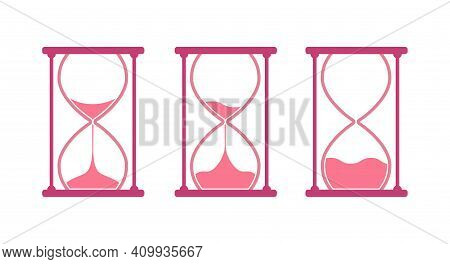 Pink Round Hourglass, Sandglass Icon Set. Flat Vector Illustration Isolated On White.