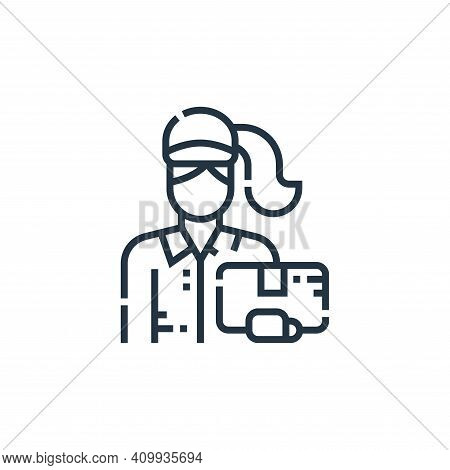delivery woman icon isolated on white background from delivery collection. delivery woman icon thin