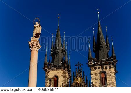Church Of Our Lady Before Tyn, Stone Gothic Towers With Spires, Marian Column, Statute Of Virgin Mar