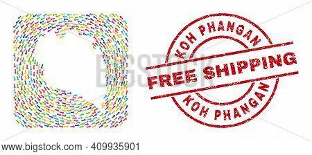Vector Mosaic Koh Phangan Map Of Swirl Arrows And Rubber Free Shipping Badge. Mosaic Geographic Koh